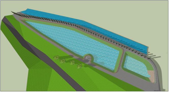 Le vasche viste dall'alto, in una ricostruzione grafica del progettista. La striscia nera sulla sinistra è via Calvi, la discesa che porta in Valle.